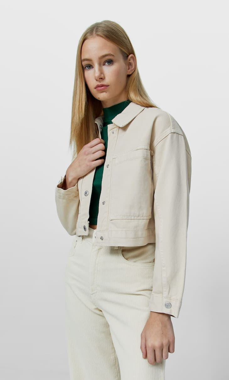 Cropped twill overshirt