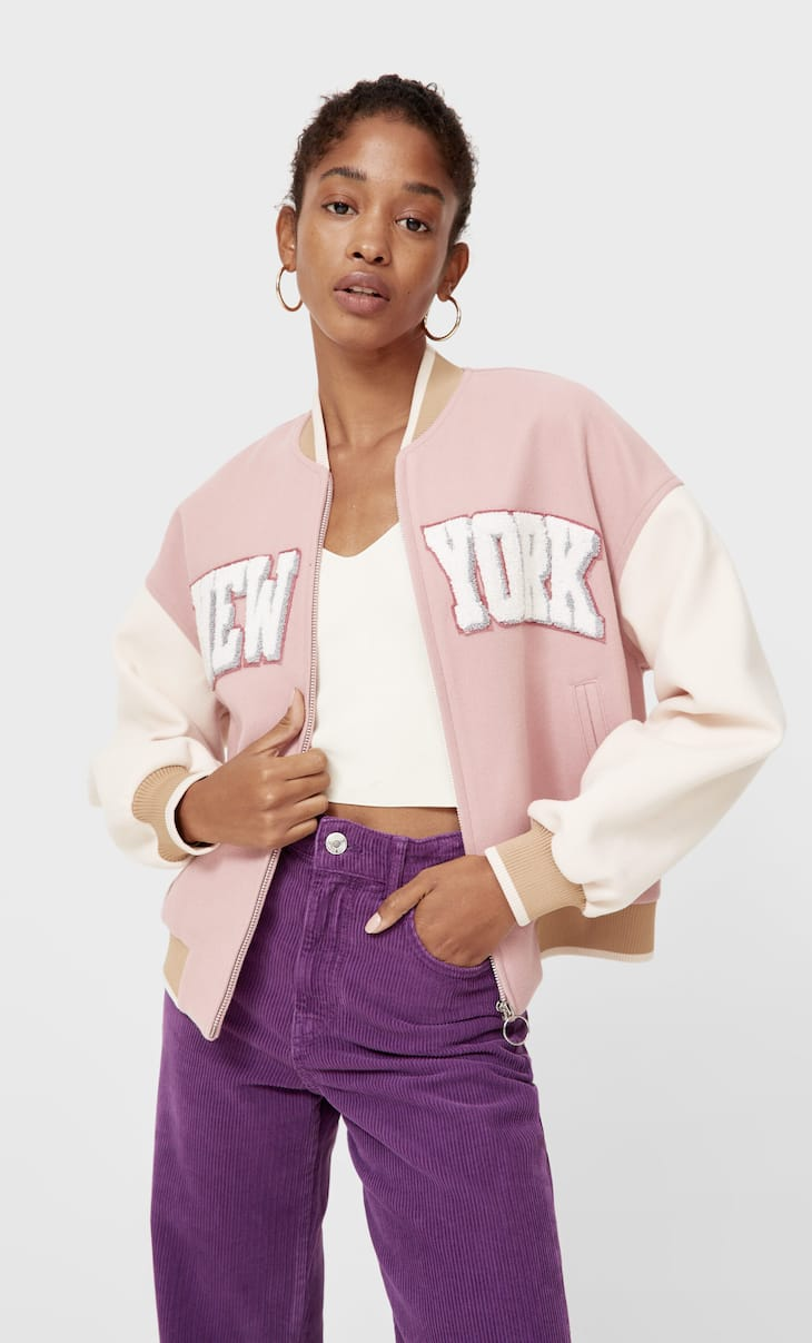 Bomber jacket with transfer detail