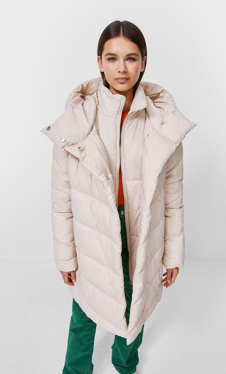 Layered collar quilted coat