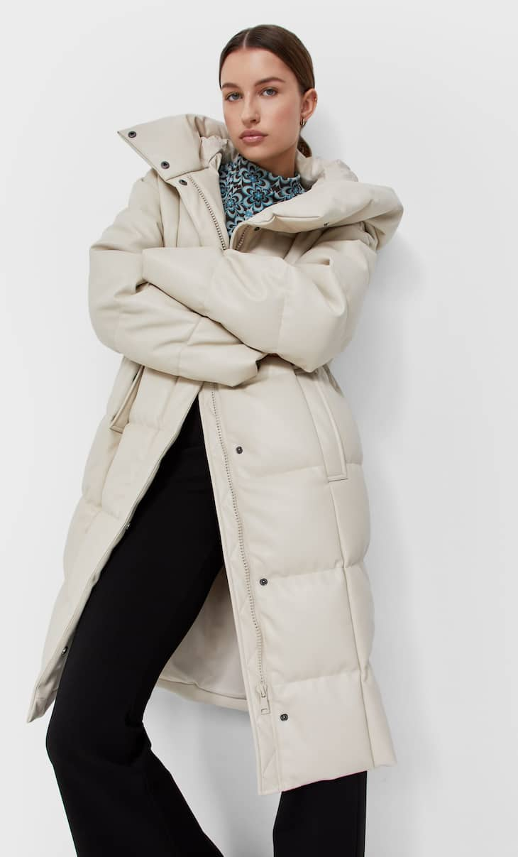 Long faux leather puffer coat