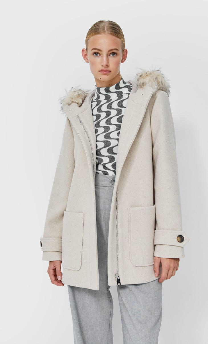 Cropped synthetic wool coat