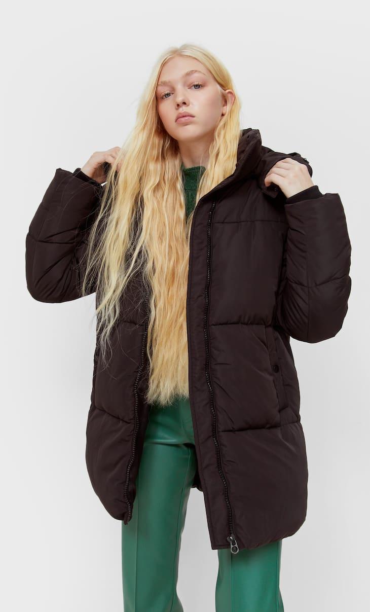 Sorona puffer coat with hood