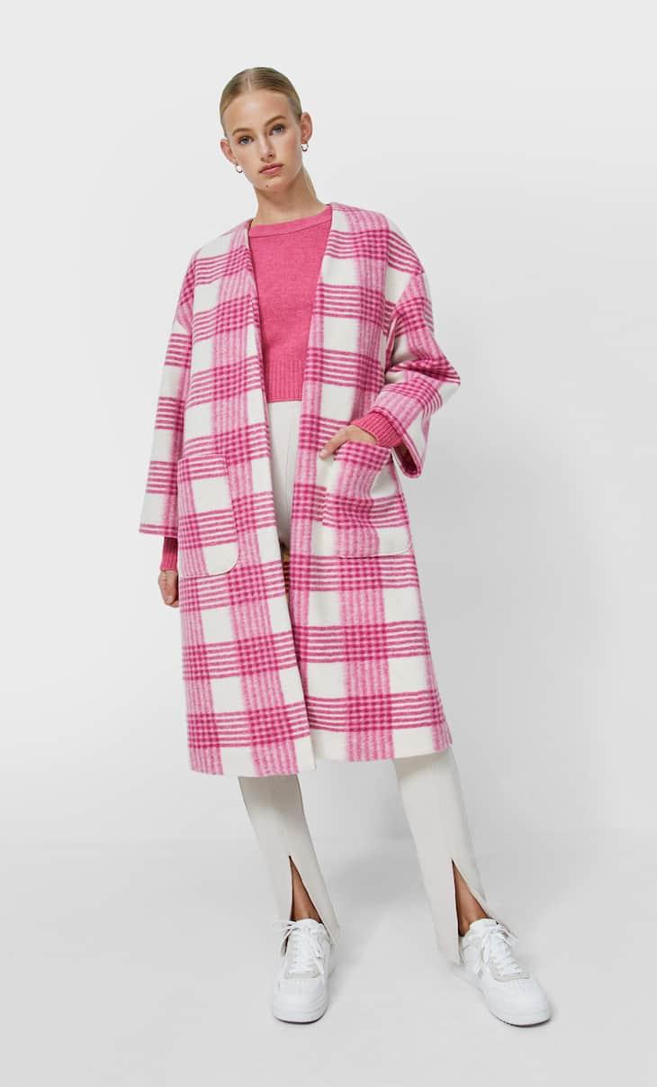 Textured knit cardigan coat