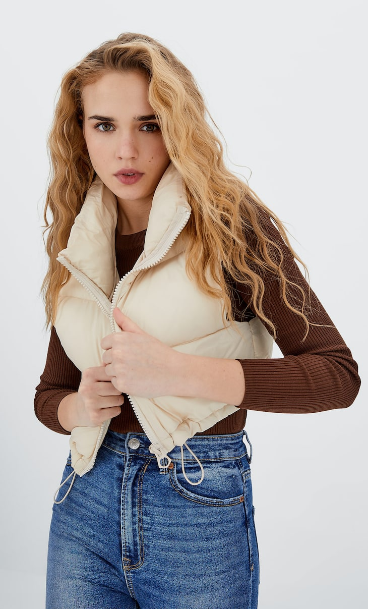 Cropped puffer gilet