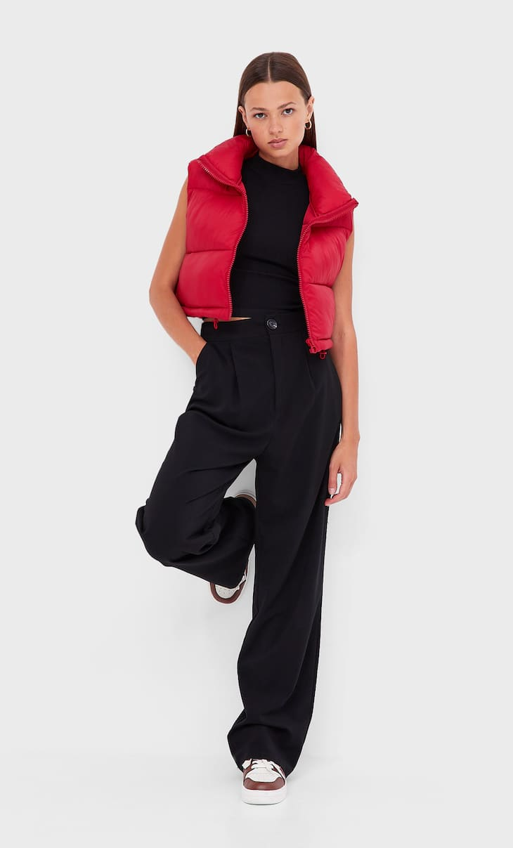 Colete casaco puff cropped