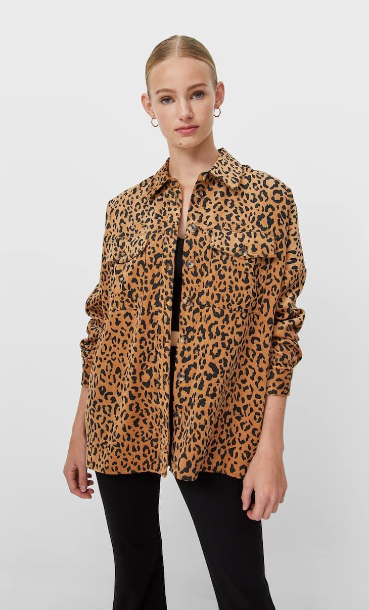Плотная рубашка карго в тонкий рубчик