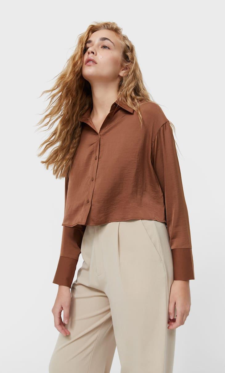 Short satin shirt