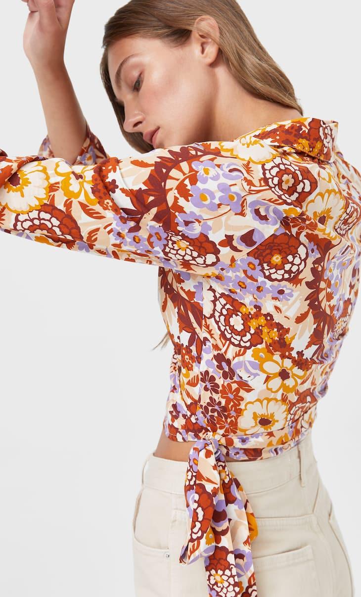 Wzorzysta bluzka w stylu baletnicy