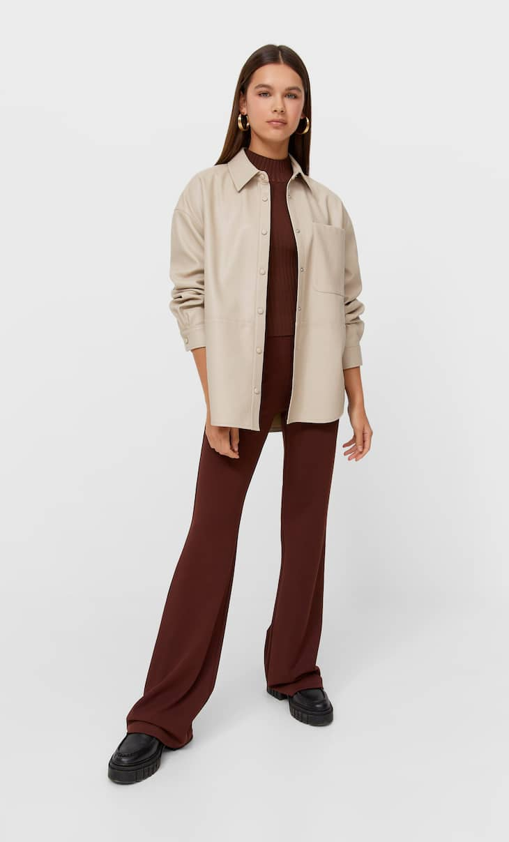 Faux leather oversize shirt