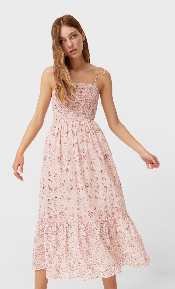 Dolga obleka s cvetličnim potiskom