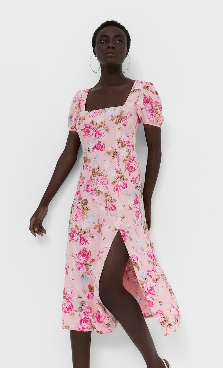 Midi dress with low-cut back
