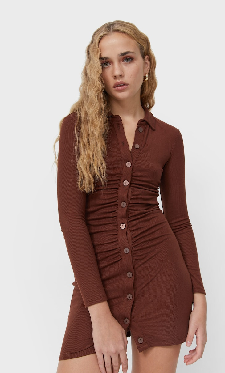 Polo dress with gathered detail