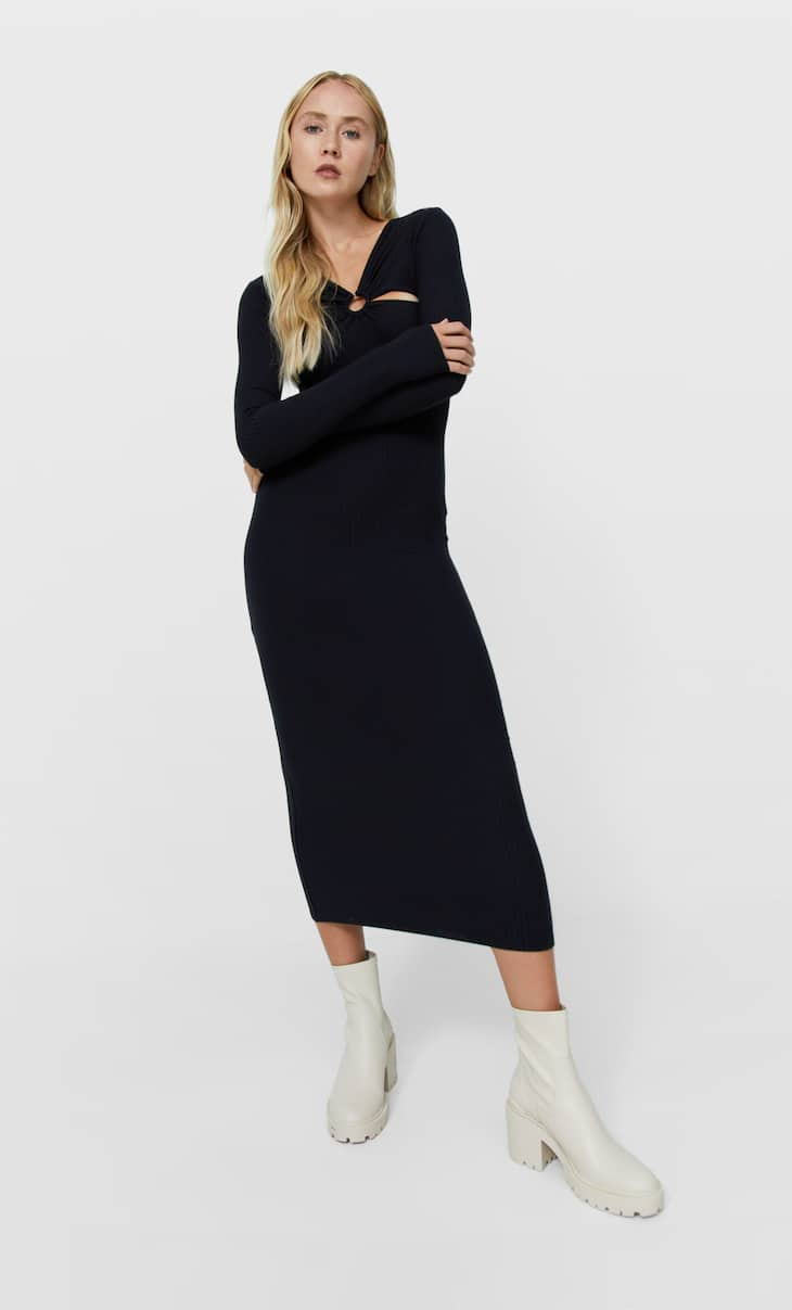 Pencil midi dress with cut-out detail