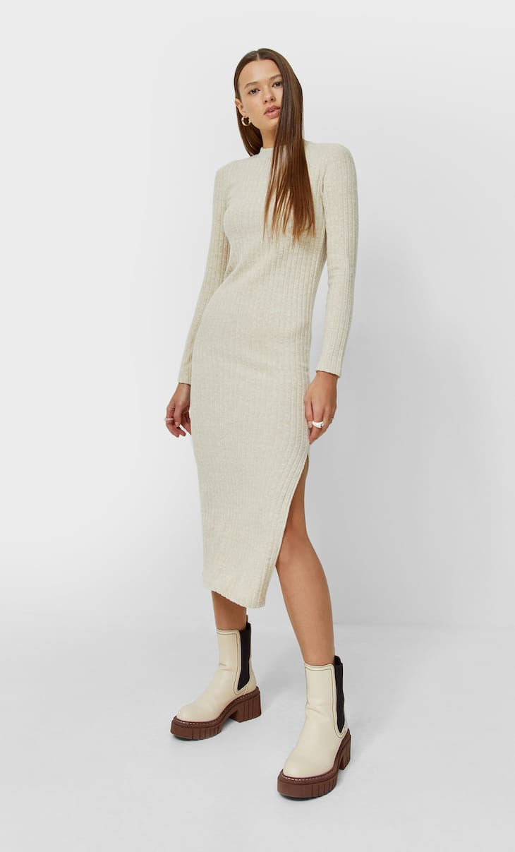 Soft-touch ribbed midi dress