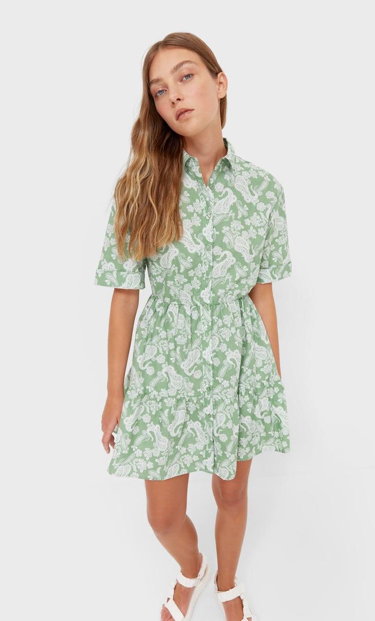 Printed short shirt dress