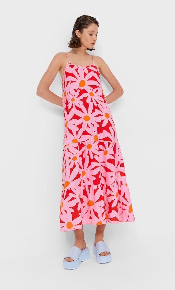 Midi haljina naramenice