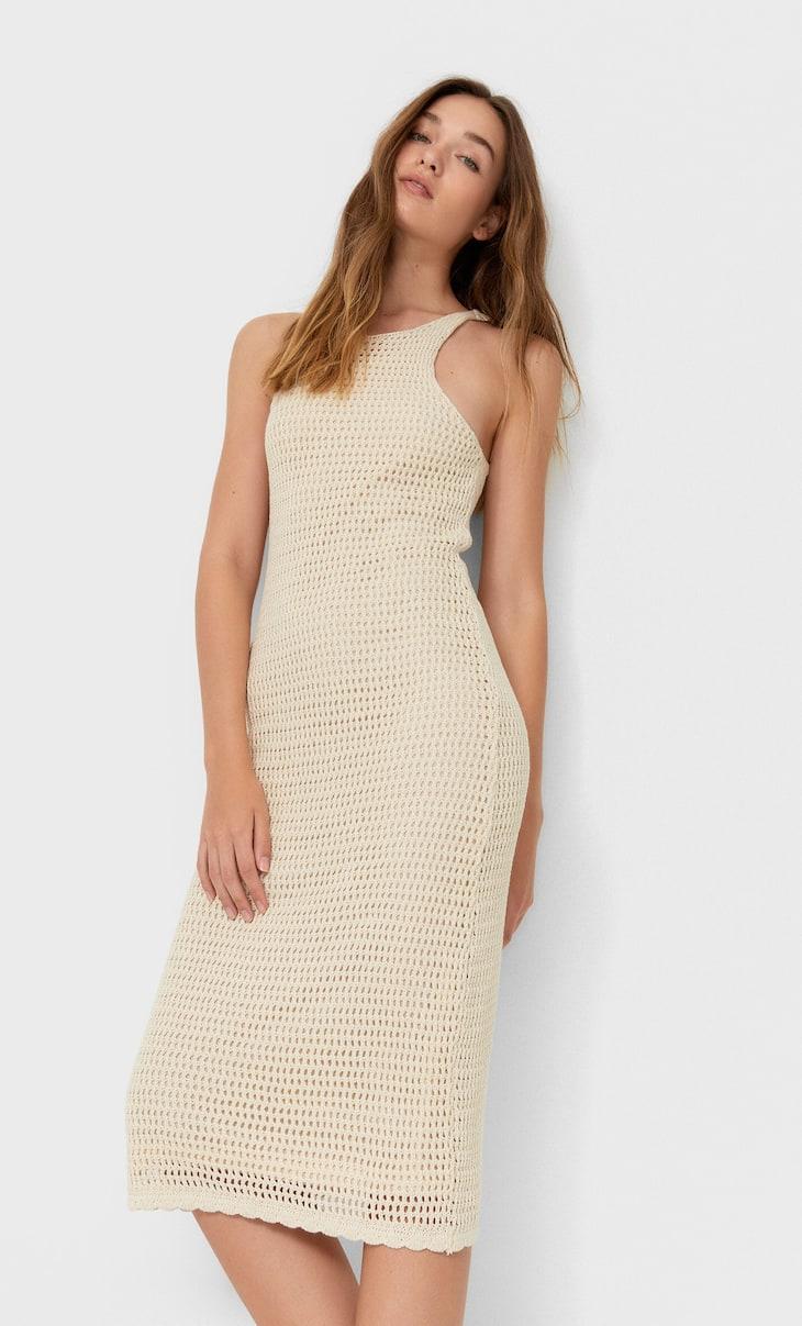 Платье миди из кружева кроше