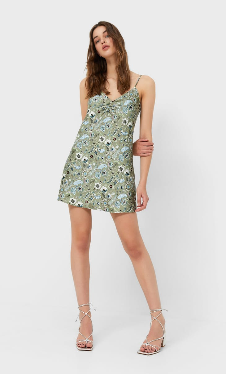 Camisole dress with gathered detail