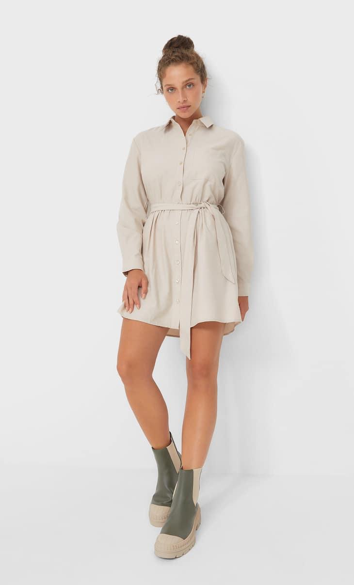 Vestido corto oxford
