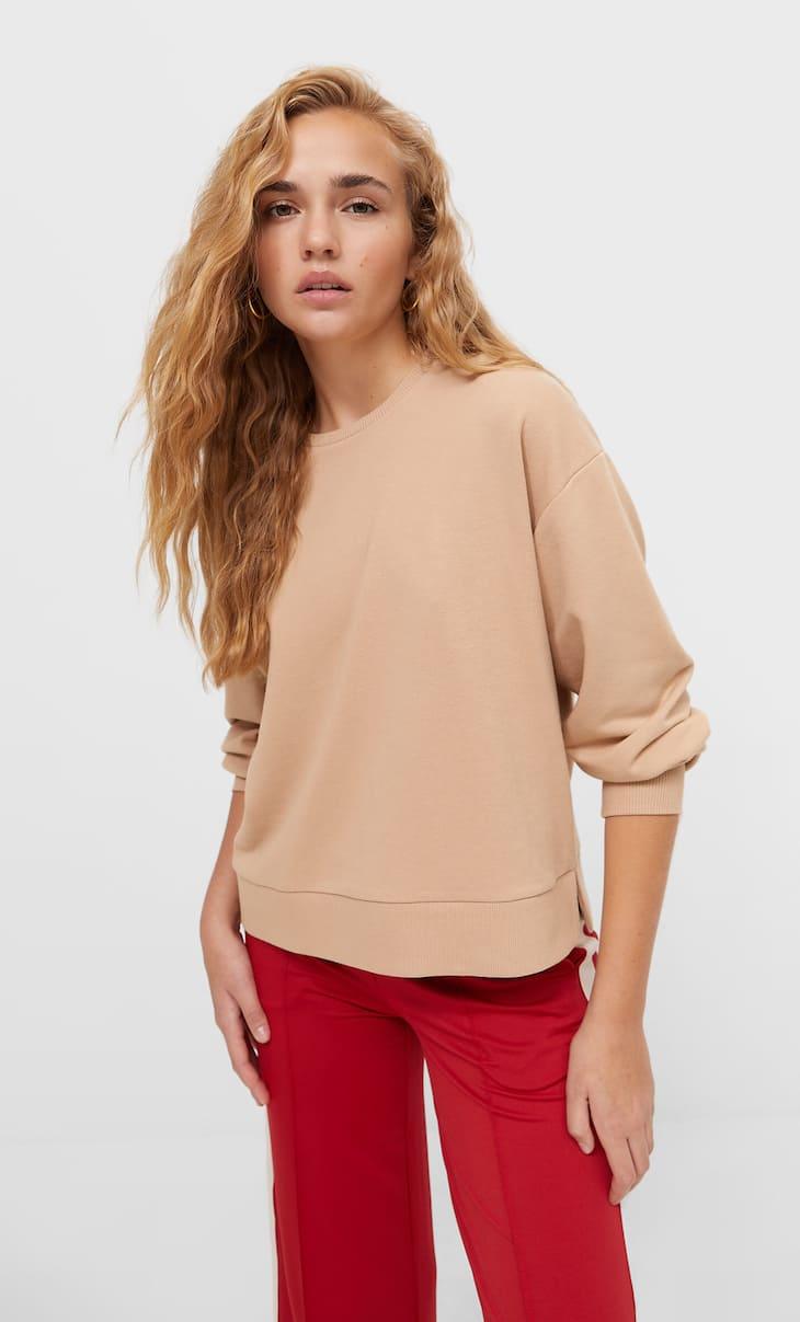 Basic-Sweatshirt mit Schlitzen