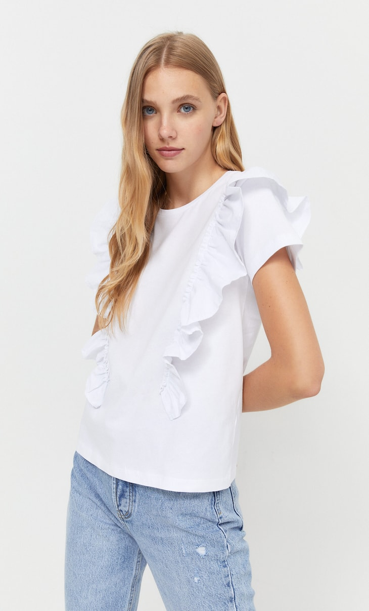 T-shirt in two materials with ruffle trim