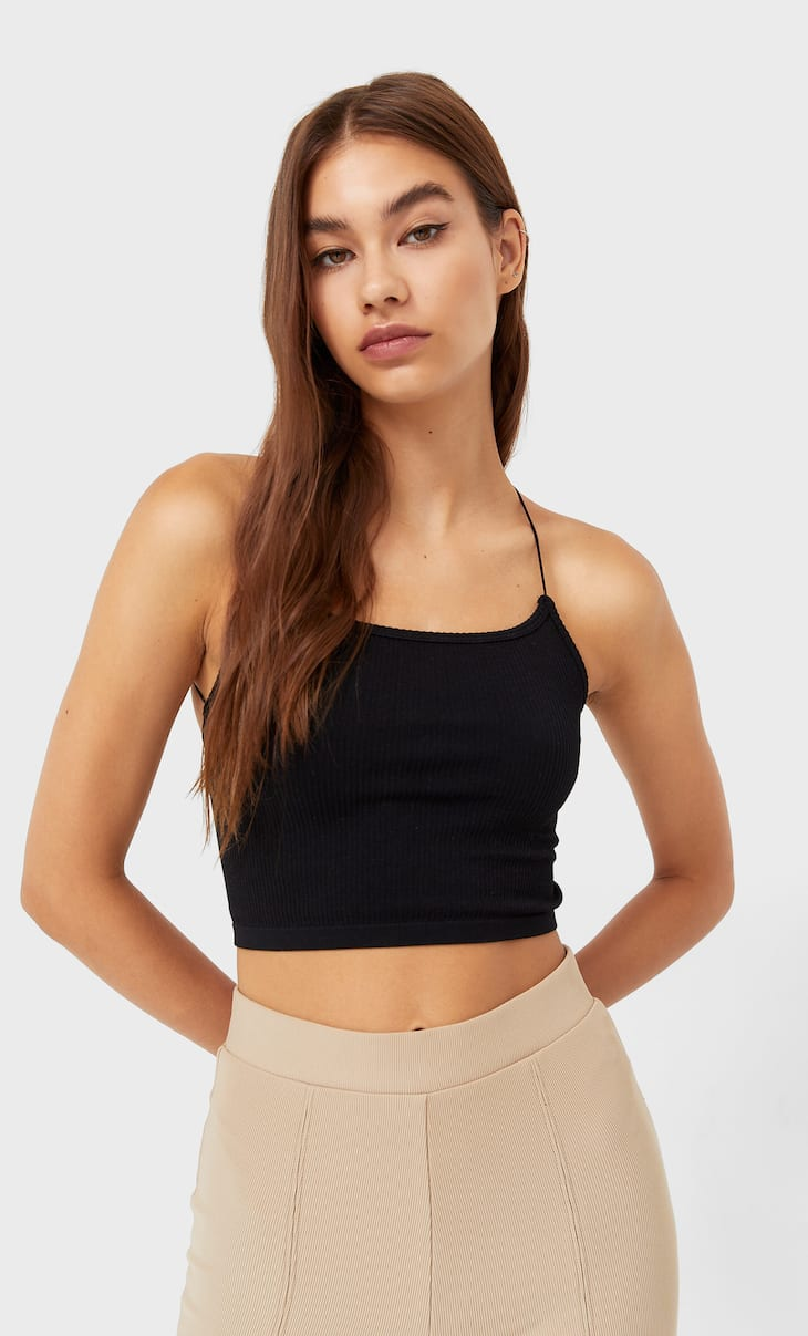 Seamless top with embellished back