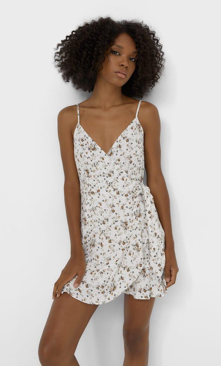 Obleka z naramnicami z ovijanjem in cvetličnim potiskom