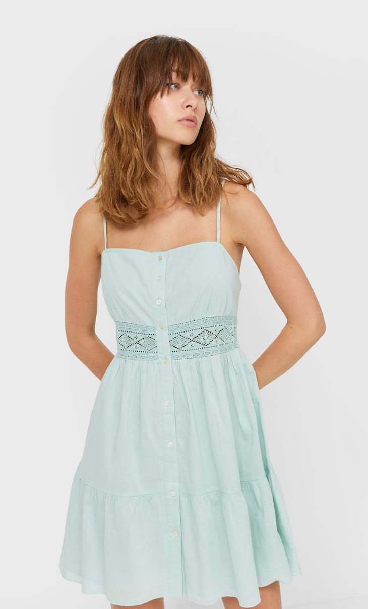Strappy dress with lace detail