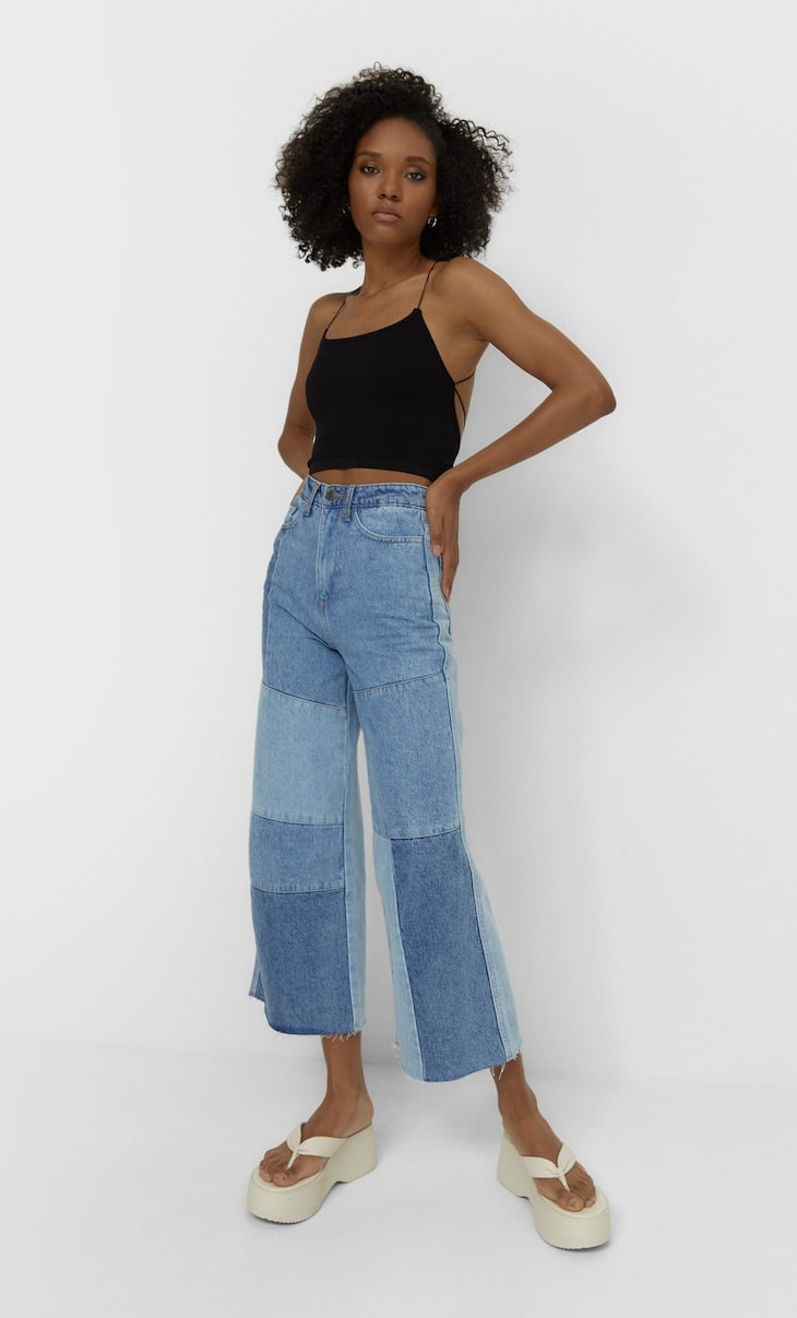 Culotte jeans with patchwork