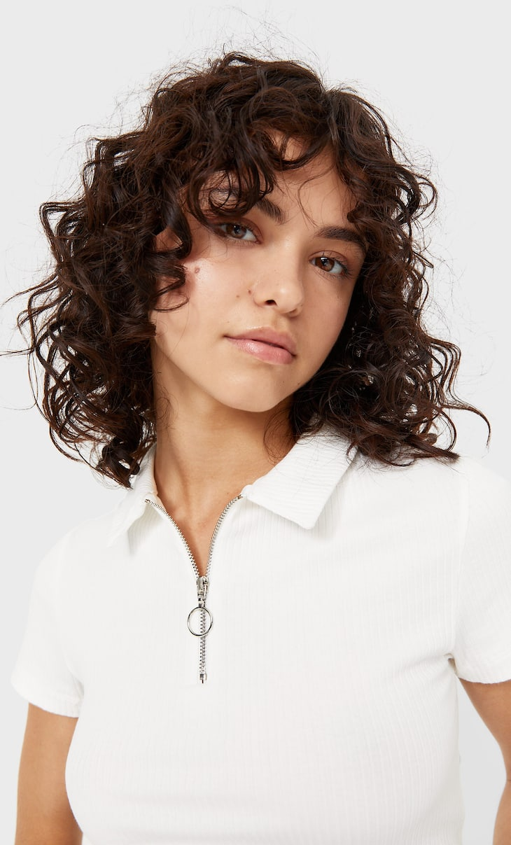 Collared polo shirt with zip