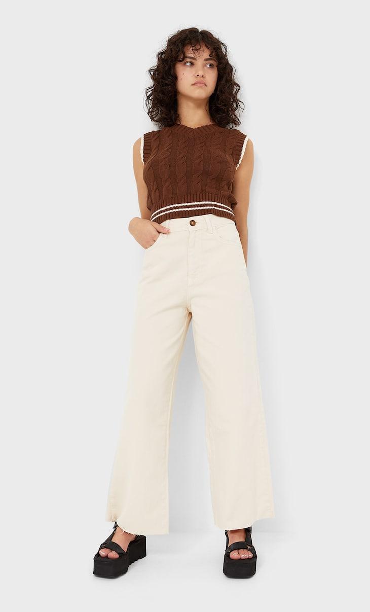 Pantalón culotte sarga