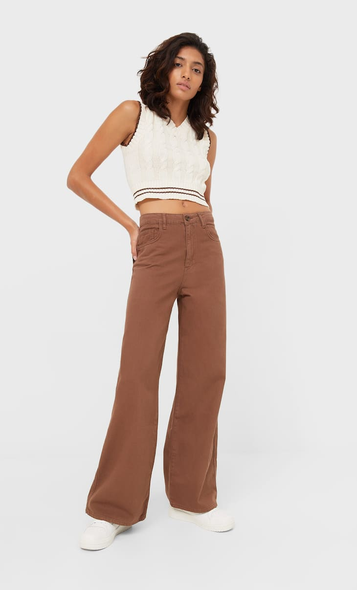 Twill bootcut trousers