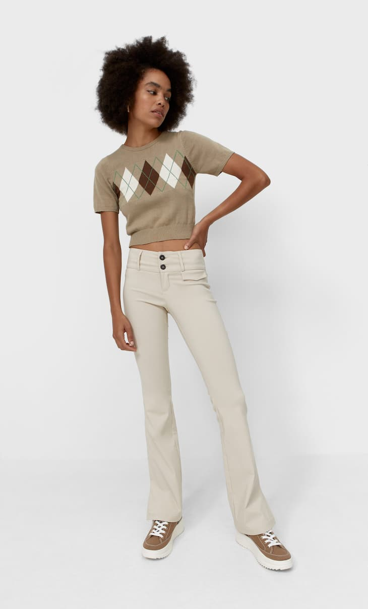 Low-waist flare trousers