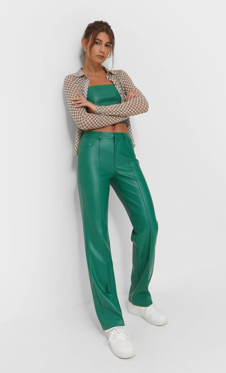 Faux leather straight trousers
