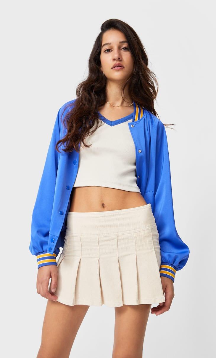 Corduroy skirt with pleats