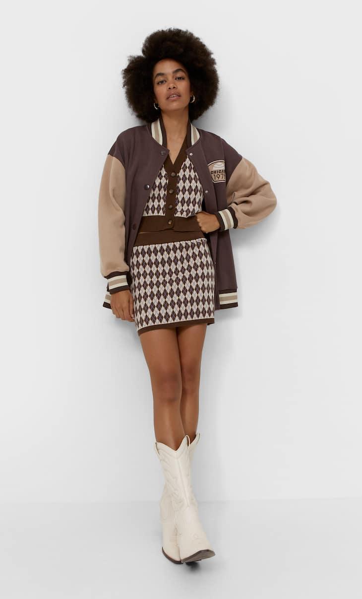 Argyle knit skirt