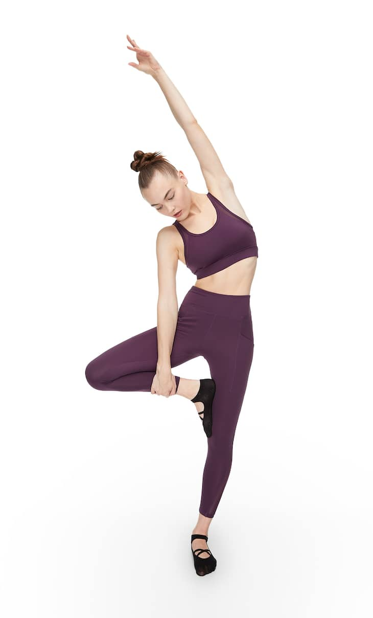 Cool touch sports leggings with tulle details