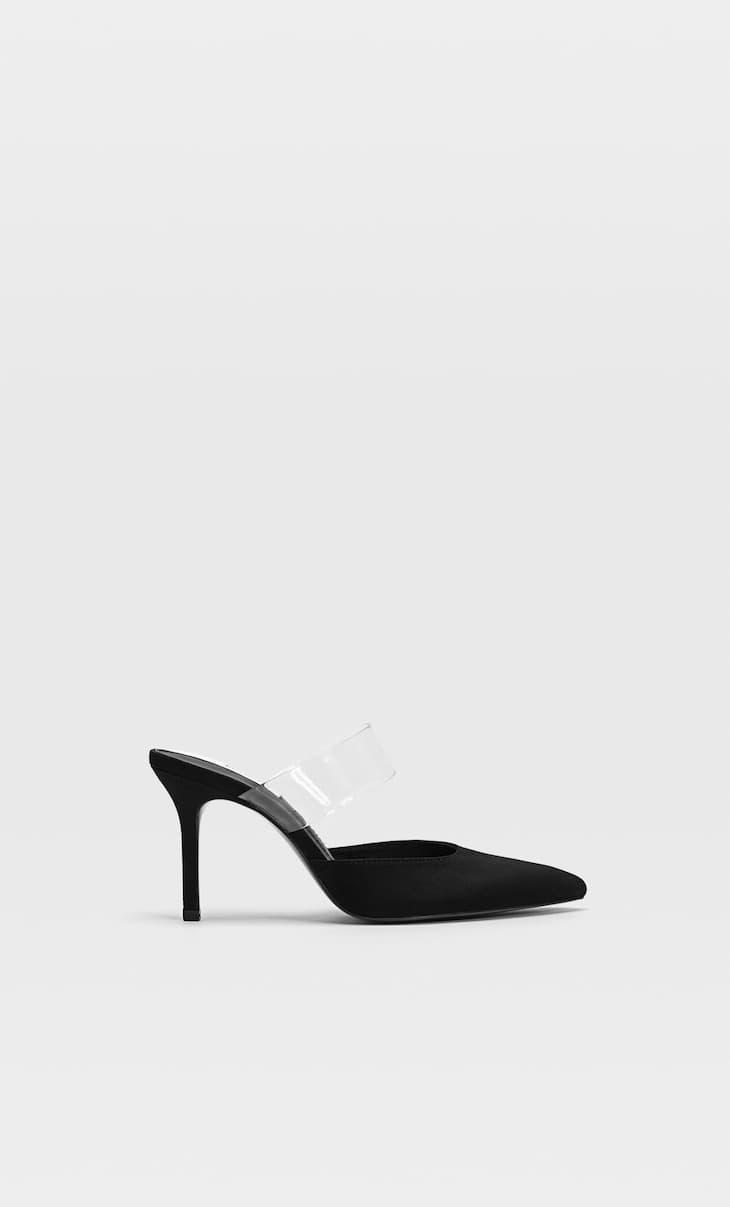 Vinyl high-heel mules