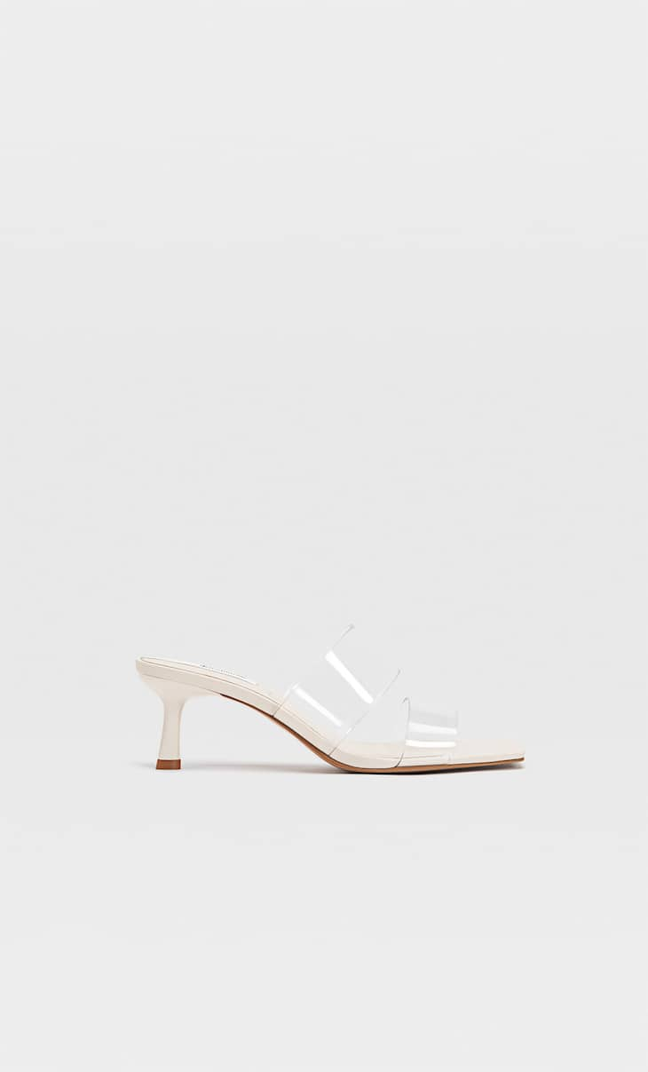 Heeled sandals with two vinyl straps