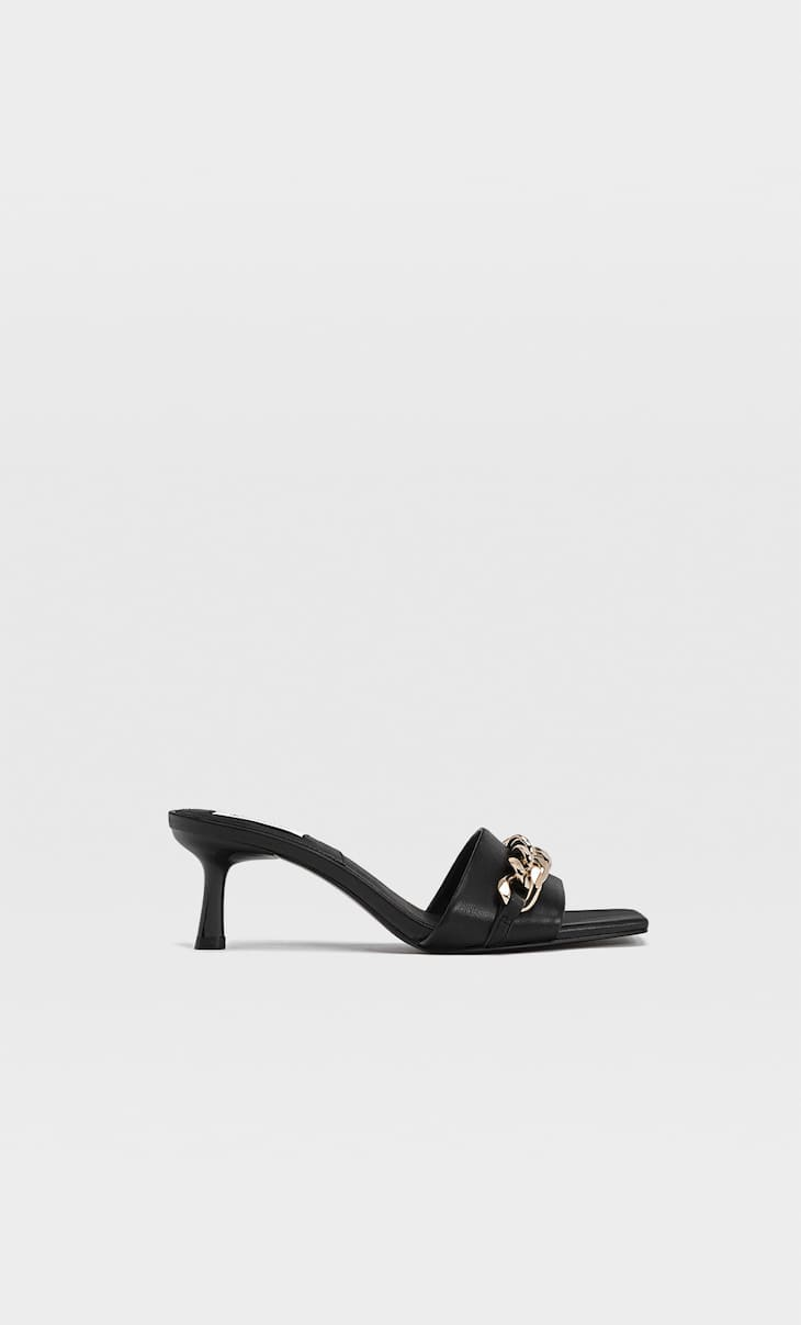 High-heel sandals with chain detail