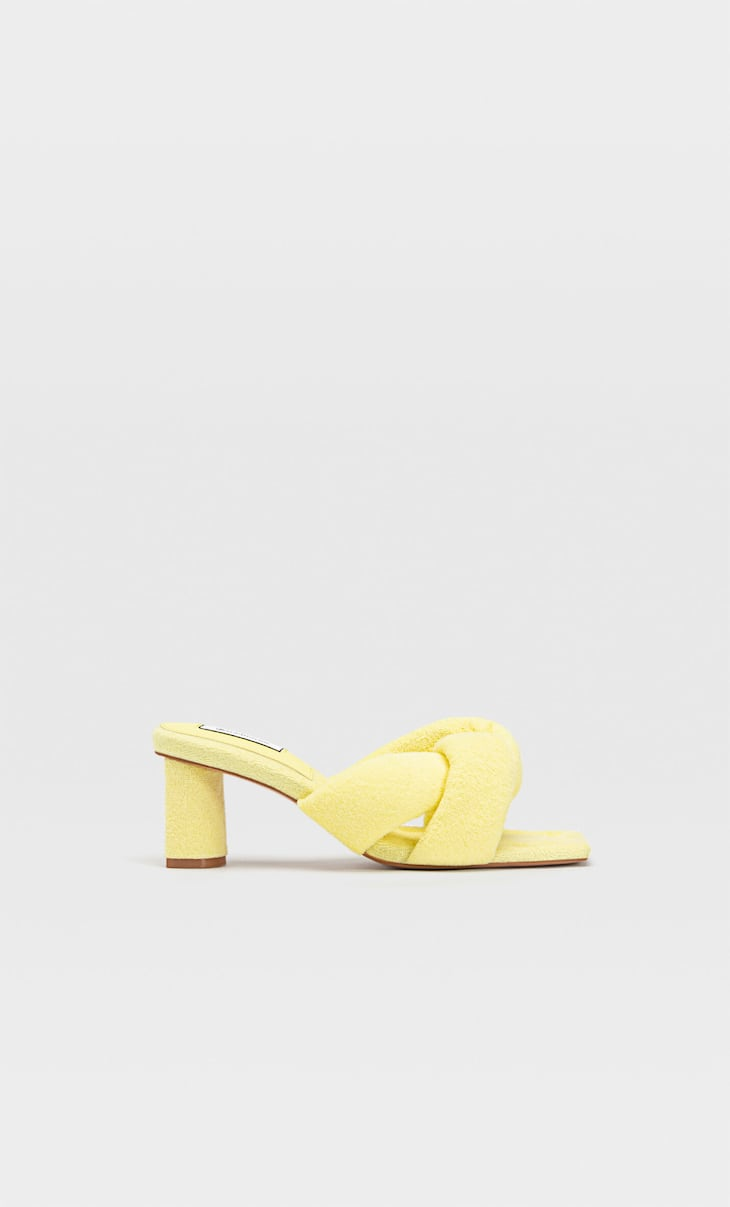 Fabric heeled sandals with padded straps