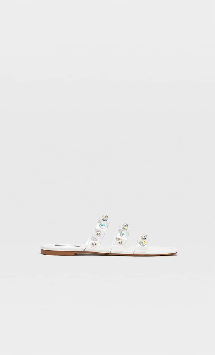 Vinyl flat strappy sandals