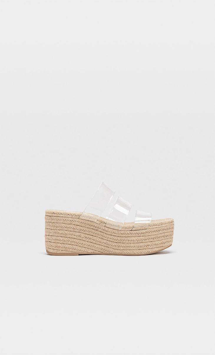 Flatform vinyl sandals