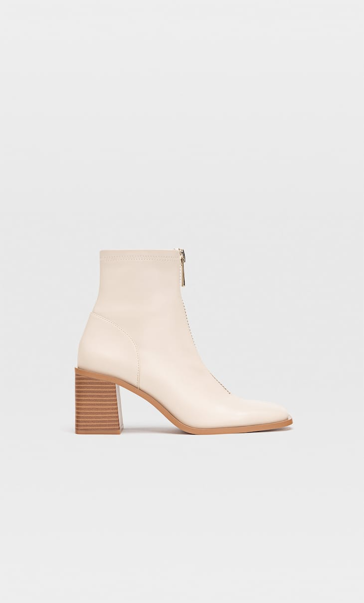 Stacked block heel ankle boots
