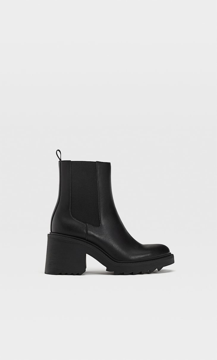Black chelsea heeled ankle boots