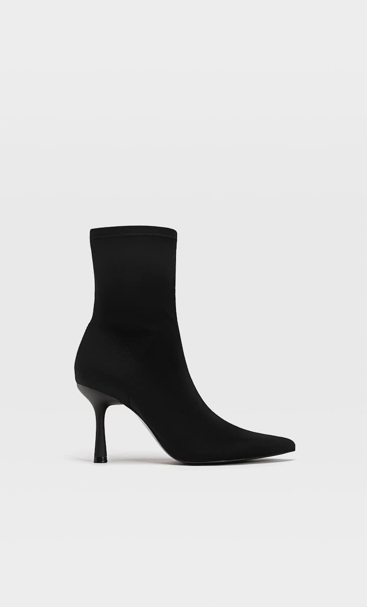 Fabric ankle boots with stiletto heel