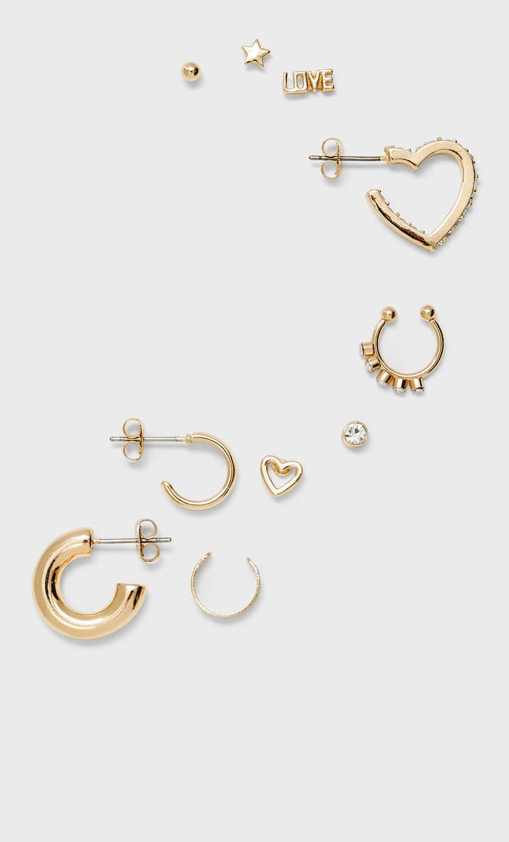 10-pack of sparkly ear cuffs and earrings