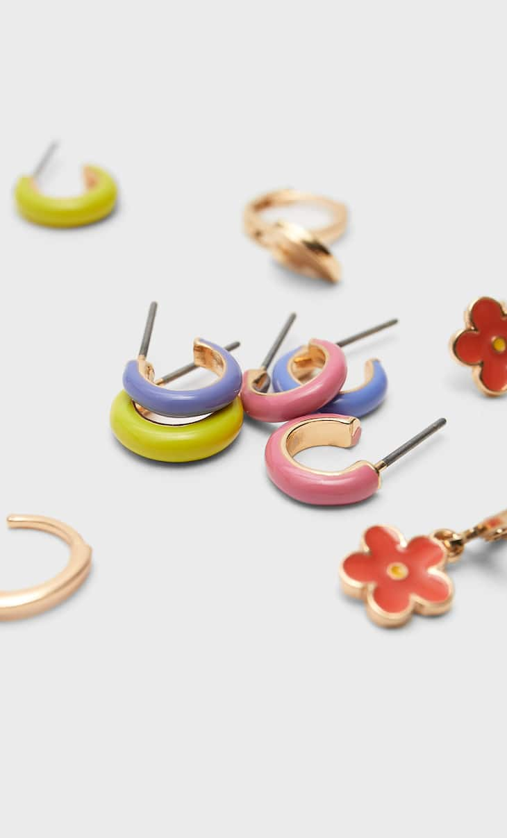 Set of 6 pairs of coloured and charm hoop earrings