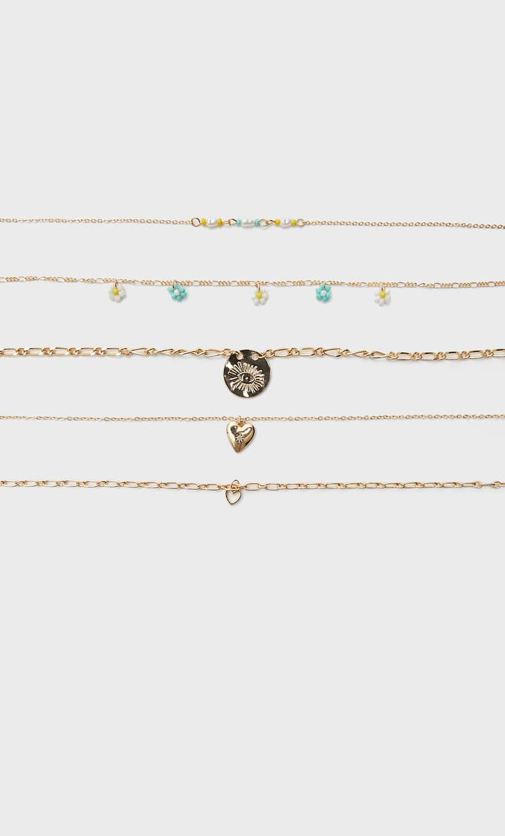 Set of 5 floral necklaces
