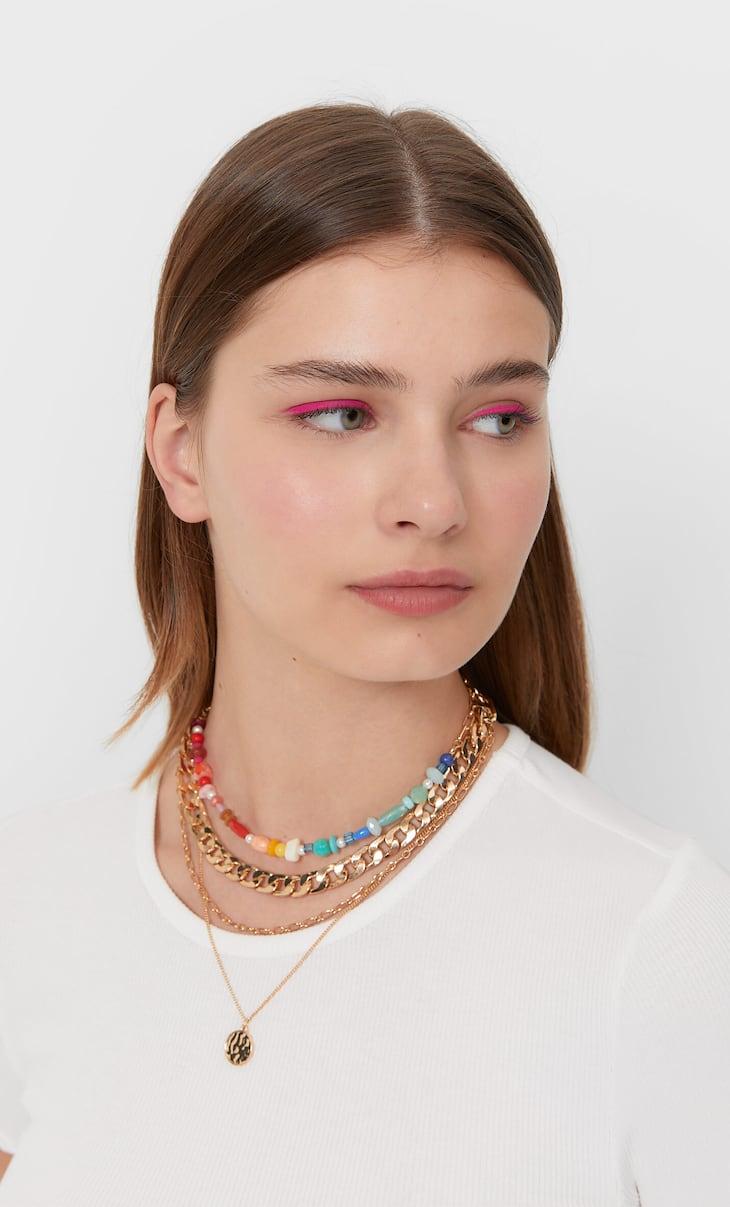 Set di 4 collane colorate